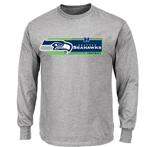Majestic NFL Football LS- Longsleeve Shirt Seattle Seahawks Football-Logo grau in XL (X-Large)