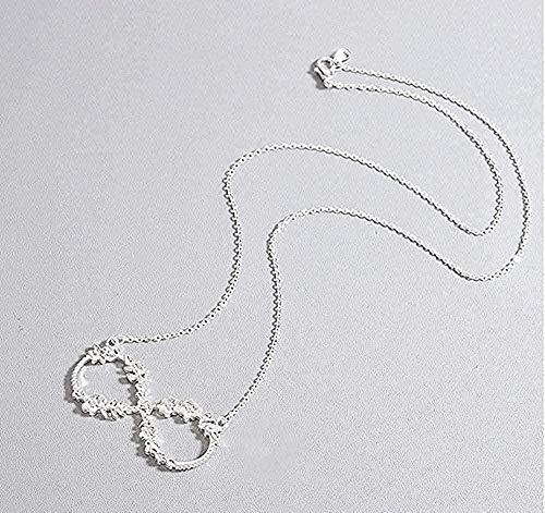 YOUZYHG co.,ltd Collar para Mujer Elegante número de la Suerte Ocho Infinito Flor Colgante Collar joyería Regalo Collar