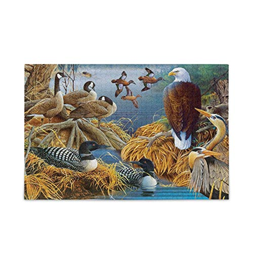 vvfelixl Lake Life Birds Bald Eagle Waterfowl Jigsaw Puzzle Wooden Puzzles DIY Gift Child Fun Family Game 500 Pieces Puzzles for Kids Adults
