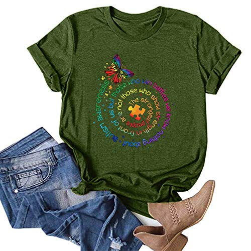 Womens O-Neck Short Sleeve Tops Whycat Loose T-Shirts Butterfly Graphic Casual Printing Blouse Tops Funny Summer Shirts(Green,XL)
