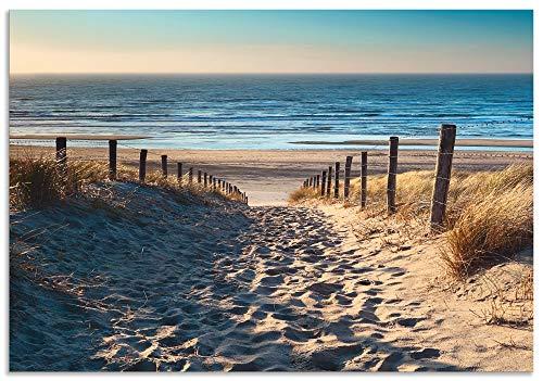 Artland Spritzschutz Küche aus Alu für Herd Spüle 55x80 cm Küchenrückwand mit Motiv Natur Strand Meer Weg Nordsee Sonne Gräser Dünenn Maritim T9IP