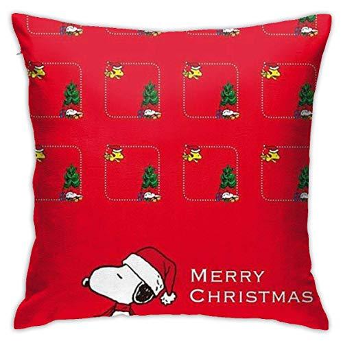 ingshihuainingxiancijies Kissenbezug Frohe Weihnachten Snoopy Red Dekorative Überwurfkissenbezüge Kissenbezug für Home Sofa 18 X 18 Zoll