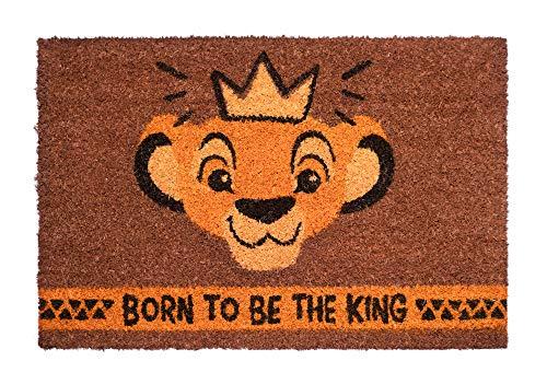 Felpudo Disney Rey León, Born to be the king - Felpudo entrada casa antideslizante 40 x 60 cm - Alfombra entrada casa exterior Rey León, Fabricado en fibra de coco - Productos con licencia oficial