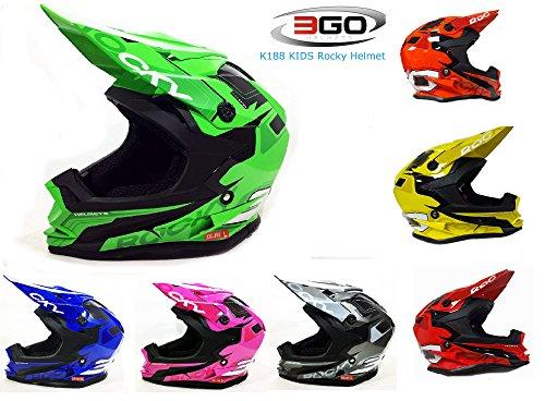 Rosso 51-52cm Casco MOTOCROSS per Bambino Moto Cross Enduro ATV MX BMX Quad Nero Opaco XS