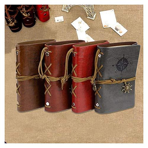 xiaofeng214 Retro Cuaderno Espiral Cubierta de Cuero Bloc de Notas Diario de la Vendimia del Ancla del Pirata de la PU Cuaderno reemplazable papelería Journal viajeros (4pcs)