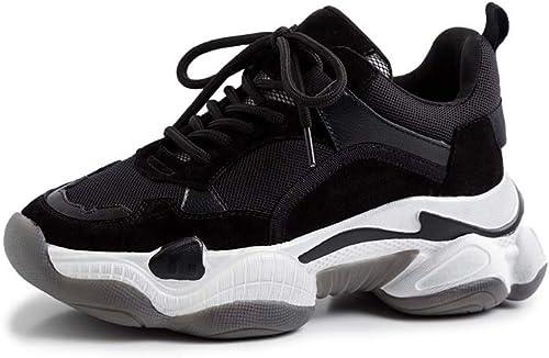 XLY mujeres plataforma de Moda Chunky Turnzapatos, cómoda Suela Gruesa Cuero Casual zapatos para Caminar,negro,42