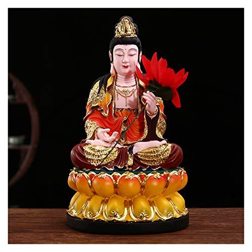 NYKK Estatuas de Feng Shui Exquisita Resina de la Resina Estatua de Buda con Flores Rojas Estatua de adoración del hogar Chino Feng Shui Decor hogar u Oficina Estatua de Riqueza