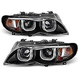 ACANII - For [Halogen Model] 2002-2005 BMW E46 Sedan 3-Series LED Tube Black Projector Headlights Headlamps Assembly