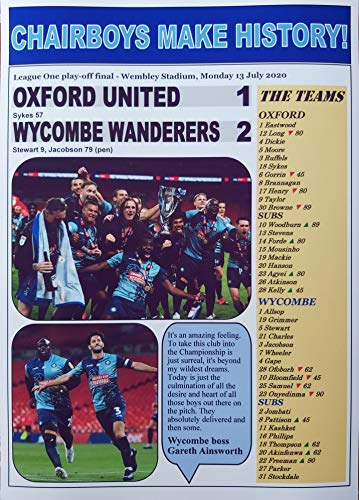 Oxford United 1 Wycombe Wanderers 2-2020 League One play-off final - Wycombe promoted - souvenir print