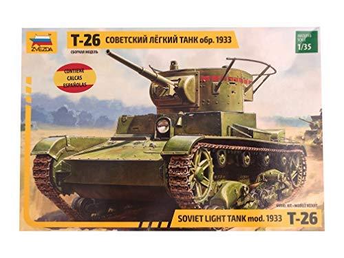 Zvezda - Maqueta de Tanque T-26 Escala 1:35, Calcas Españ