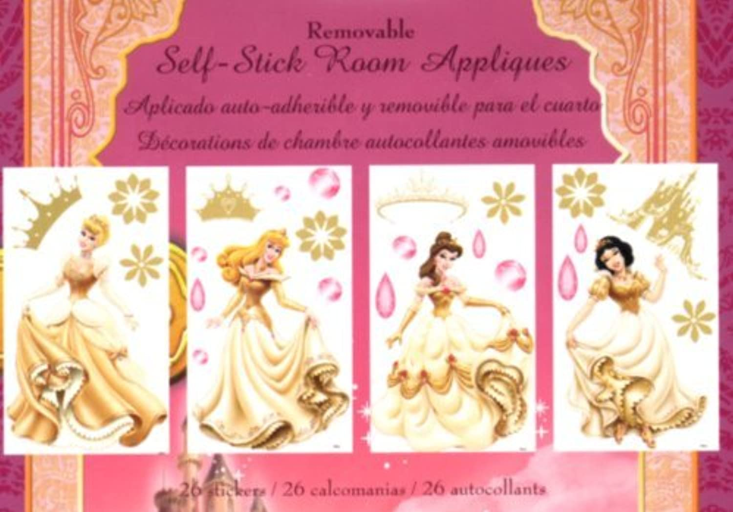 Self-Stick Appliques - Disney Princess Enchanted Tales (4 Sheets Each 10 in. x 18 in. nominal)