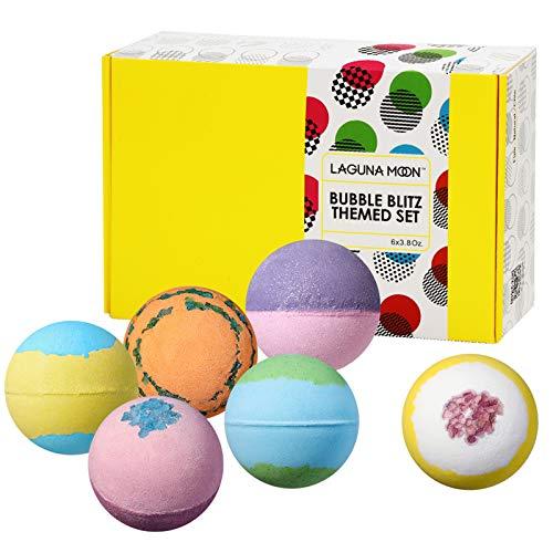 Lagunamoon Upgrade Bath Bombs Gift Set, 6 XXL Natural Fizzy Handmade with Organic Essential Oils,...