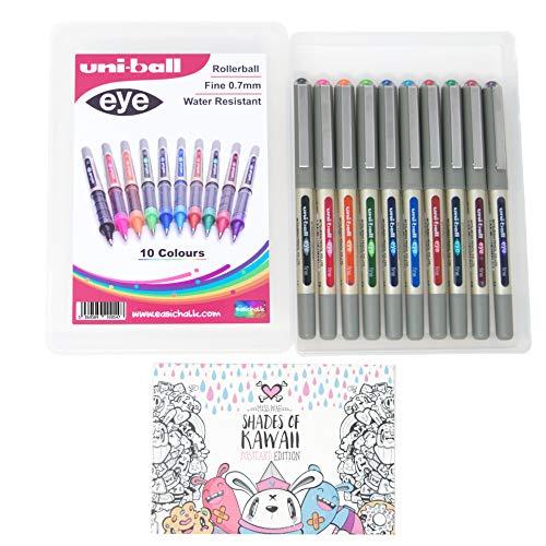 Uni-ball Eye UB-157 - Penna a inchiostro liquido, confezione da 10 pezzi, punta fine da 0,7 mm, confezione regalo, 10 penne, esclusiva per easichalk