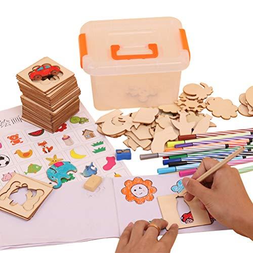 Conjunto de Arte de Plantilla de Dibujo para niños, Plantillas de Plantilla de Pintura para niños Conjunto de coloración DIY para niños pequeños Juguete de educación Escolar