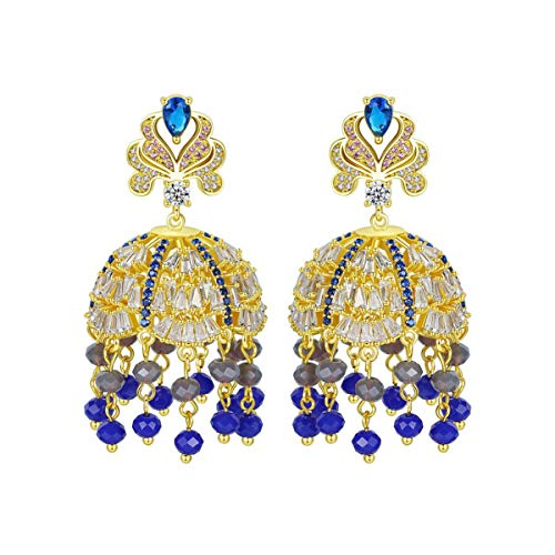 Cubic Zirconia Stud Earrings for Bell-Shaped Creative Retro Earrings Charming Bohemia Retro Design Color Rhinestone Crystal Chandelier Tassel Large Dangle Vintage Ethnic,Blue