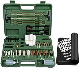 iunio Universal Gun Cleaning Kit, with Mat, Carrying Case, for Rifle, Pistol, Handgun, Shotgun, Hunting, Shooting, All Caliber (Green)