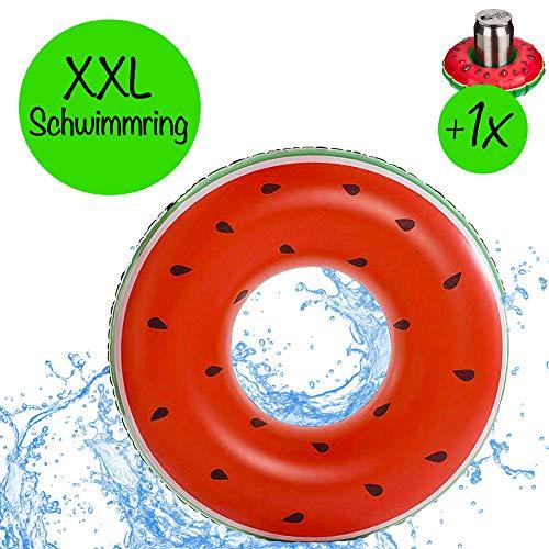Riesen XXL aufblasbare Wassermelone mit 1x aufblasbaren Getränkehalter für Getränke   Durchmesser 125cm   Schwimmring Donut Schwimmreif für den Pool