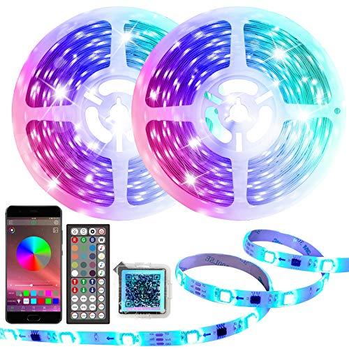 AOGUERBE 20M Tiras LED RGB 5050, Tira de Luz de Cambio de Color de Música con Control Remoto 44 Teclas IR Kit de Luces LED Iluminación para Fiesta de TV Cocina de Dormitorio 16 Millones de Colores