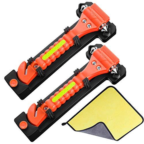 L'veocone - Martillo de emergencia, martillo de seguridad para coche, martillo de acero para cristal de coche, cortador de emergencia para cinturones de seguridad con toalla de microfibra (2 unidades)