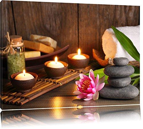 Kerzen mit Zen Steinen und Seerose Format: 120x80 auf Leinwand, XXL riesige Bilder fertig gerahmt mit Keilrahmen, Kunstdruck auf Wandbild mit Rahmen, günstiger als Gemälde oder Ölbild, kein Poster oder Plakat