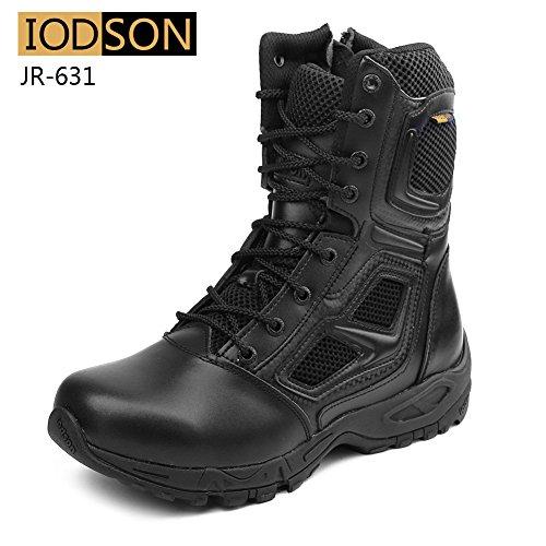 IODSON Zapatos de Hombre Botas/Botas de Combate/Botas Tácticas Ultra-Ligero Antideslizante Tela de Cuero Verdadero Transpirable JR-631 44 EU