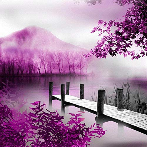 5D DIY Diamond Painting Kits for Adults Pier Pink Forest Full Drill Diamond Art Crystal Rhinestone Diamond Embroidery Mosaic Cross Stitch Canvas Crafts Home Living Room Decoration 100x100cm B1974