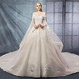 Dfghbn Vestidos De Novia para Novia Una Palabra de Hombro Mangas Cortas Elegante Vestido de Noche Vestidos de Fiesta Vestido de Novia (Color : White, Size : XL)