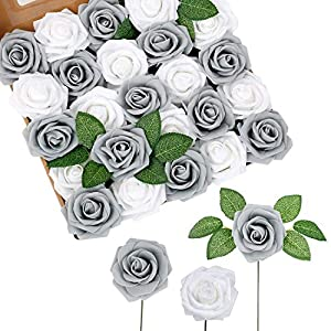 Fake Roses 25 Pcs Foam Roses Grey Fake Flowers Artificial Roses with Stems Real Looking with Leaves for DIY Bridal Wedding Bouquets Centerpieces Party Home Decorations Baby Shower Christmas Tree