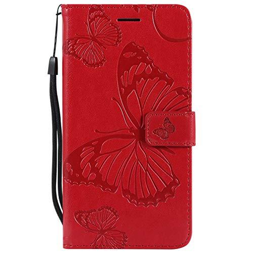 DENDICO Cover Galaxy S6 Edge Plus, Pelle Portafoglio Custodia per Samsung Galaxy S6 Edge Plus Custodia a Libro con Funzione di appoggio e Porta Carte di cRossoito - Rosso