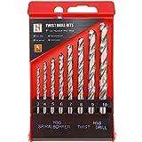Hymnorq 8PC Metric Twist Drill Bits Set, Fully Ground High Speed Steel, DIN338 Standard, 135 Degree Split Point, 3mm 4mm 5mm 6mm 7mm 8mm 9mm 10mm, for Wood Plastic Iron Aluminum Copper Soft Metals