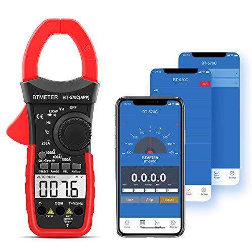 Bluetooth AC DC Clamp Mutlimeter Amp Meter with Temp Testing, Auto-ranging Measures Current, Voltage, Resistance, Capacitance, Continuity, Amperage, Volt, Ohm Clamp-on Ampmeter (BTMETER BT-570CAPP)