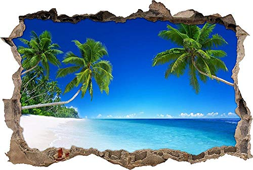 Pegatinas de Pared 3D,Tatuajes de Pared Etiqueta de la Pared Decorativas para Dormitorio Habitación de los niños de Papel de Pared Desmontable,hermosas palmeras en la playa 60x90cm