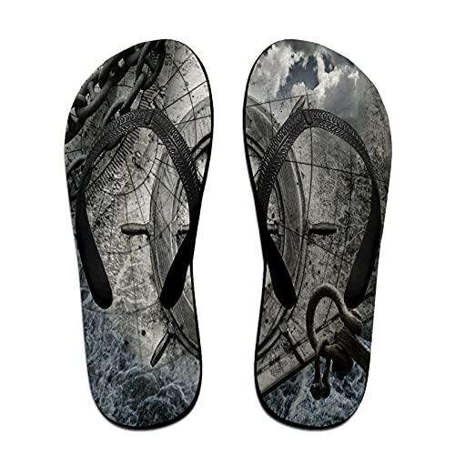 Schmale Unisex-Sandale mit Flip-Flop,Retro-Navigationsgeräte-Illustration mit,Yoga Mat Flip Flops Bequemer Strand Lederriemen mit leichter EVA Sohle Größe M