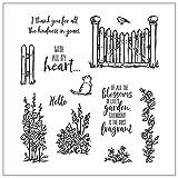 ECMQS Cat in The Garden - Sellos de silicona transparentes para manualidades, set de sellos de silicona, sellos transparentes, plantillas, manualidades y scrapbooking