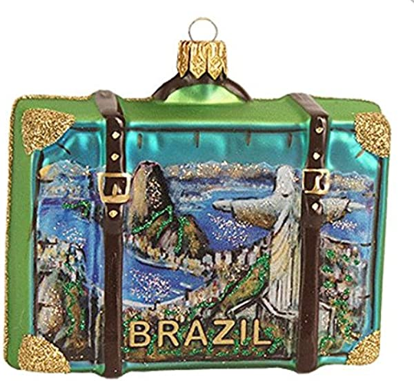 Brazil Rio De Janeiro Christ The Redeemer Statue Suitcase Polish Glass Christmas Ornament Travel Souvenir Decoration