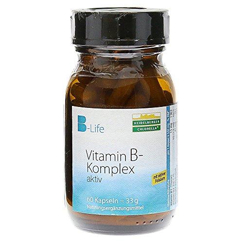 Heidelberger Chlorella – B-Life® Vitamin B-Komplex aktiv Kapseln, aktives Folat (5-MTHF als Quatrefolic®), hochdosiert, gute Bioverfügbarkeit, vegan, hergestellt in Deutschland, 33 g, 60 Kapseln