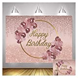 7x5ft Vinyl Pink Rose Gold Balloon Gold Ring Happy Birthday Photo Backgrounds Sweet Princess Girl 16th 18th 20th Birthday Party Woman Queen Photography Backdrops Dessert Cake Table Decor Props