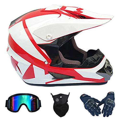 NINOMI Cascos De Motocross, Blanco + Rojo Downhill DH Motocicleta Todoterreno Am Bicicleta De Montaña Casco Integral Casco De Montar con Gafas + Guantes + Protector Facial