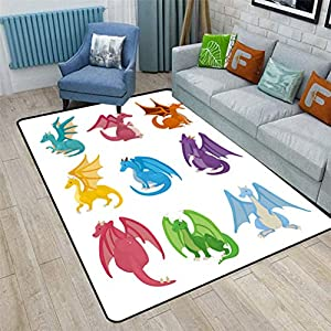 Dragon Cute Area Rugs, Little Baby Winged Dragons in Reptile Kids Nursery Cartoon Bedroom Carpets for Kid Nursery Girls Baby, 6'6″ x 9′