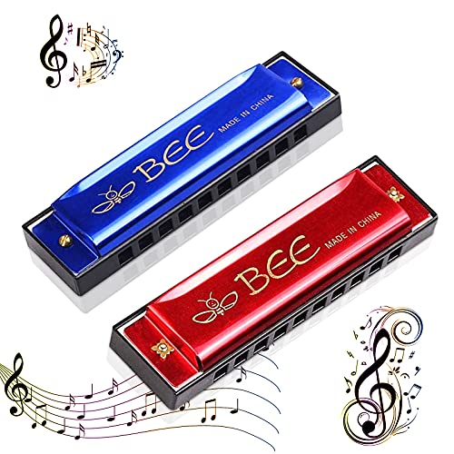 Armonica a bocca, 2 pezzi, per bambini, armonica a bocca, armonica a bocca, giocattolo C-Dur Major Blues, armonica a 10 fori, per principianti (rosso + blu)