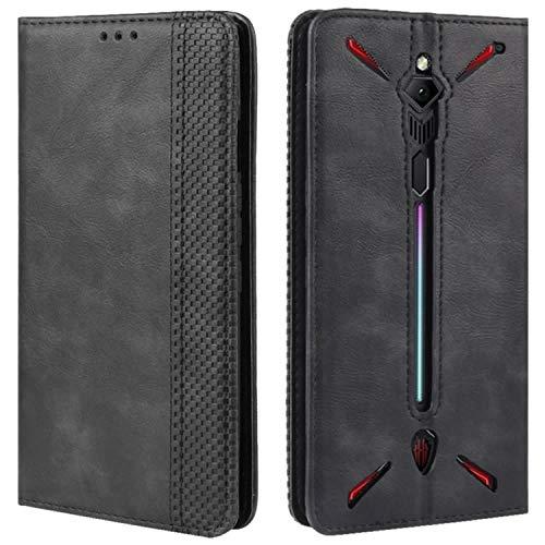 HualuBro Handyhülle für Nubia Red Magic 3 Hülle, Retro Leder Brieftasche Tasche Schutzhülle Handytasche LederHülle Flip Hülle Cover für ZTE Nubia Red Magic 3 - Schwarz