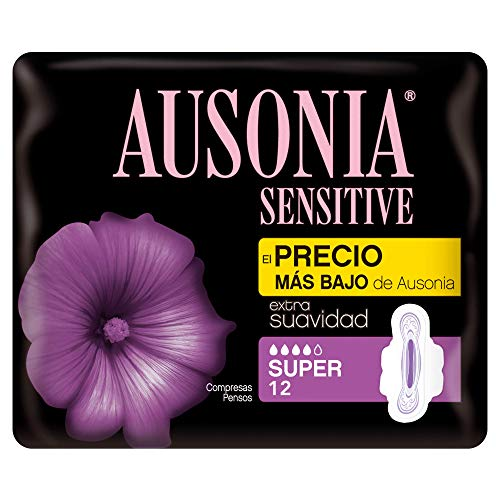 AUSONIA sensitive compresas super con alas bolsa 12 uds