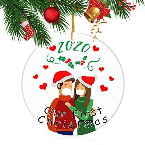 Our First Christmas Ornament 2020 Rustic 1st Year Newlyweds Couple Married Wedding Decoration 3' Ornament Gifts for Couples Wedding Ornament Gift