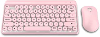 Tosuny Wireless Keyboard Mouse Combo, Wireless Keyboard and Mouse Set 2.4G Chocolate Key-Cap and Ultra-Thin Sleek Design for Home Business Office (Pink)
