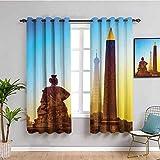 Cortina de tela para decoración de Torre Eiffel Francia Place De La Concorde, Obelisco y la Torre Eiffel con 2 paneles de la ciudad, 42 x 63 pulgadas