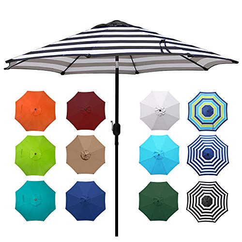 Blissun 9' Outdoor Aluminum Patio Umbrella, Striped Patio Umbrella, Market Striped Umbrella with Push Button Tilt and Crank (Black & White Stripe)