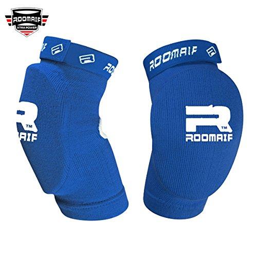 ROOMAIF Ellenbogenschützer Ellenbogenschoner Ellenbogen Bandagen Kickboxen MMA Kampfsport Elbow Pads DE (Bleu, Einheitsgröße)