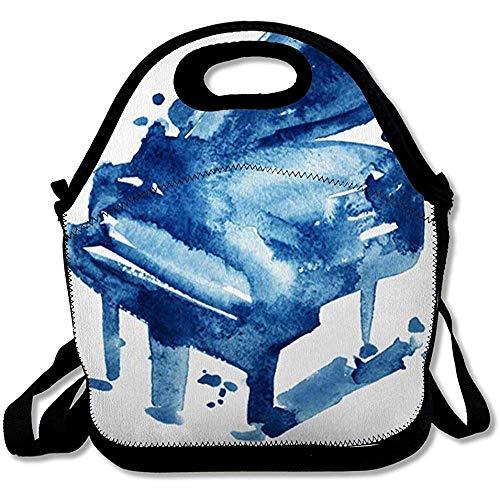 Picknick Tassen Vintage Blauw Aquarel Schets Grand Piano Vrije tijd Op Tekenen Toetsenbord Muziek Abstract Akoestisch Ontwerp Herbruikbare Geïsoleerde Lunch Tote