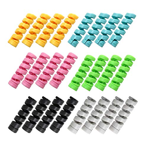 YFaith 24 Stück Maus Kabelschutz, Kopfhörer Kabelschutz, Ladegerät Kabelschoner, Flexibler Silikon USB Schutz, Anzug für alle Handys, 6 Farben (Schwarz, Grau, Blau, Grün, Gelb, Rosa)