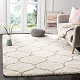 Safavieh Hudson Shag Collection SGH280D Moroccan Ogee Plush Area Rug, 4' x 6', Ivory/Beige
